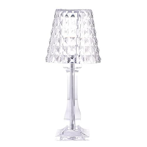 Yozeka Bourgie - Lámpara de mesa de cristal acrílico, 13 x 13 x 31 cm, brillo ajustable LED con línea USB para dormitorio, sala de estar