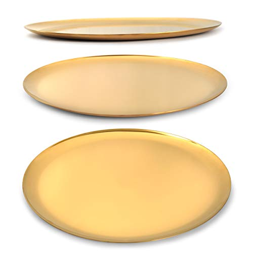 """Chloefu LAN Stainless Steel Jewelry Organizer Trays Round Size 11""""for Bathroom Tray Candle Holder Perfume Ring Tray Golden"""