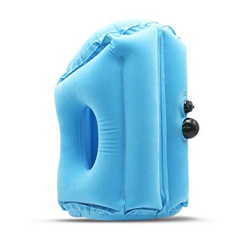 XINGLEI Aufblasbares Reisekissen, Flugzeugkissen mit Nacken- und Kopfstütze, für Langstreckenflugzeuge, Stehen, Sitzen und Schlafen (Color : Blue, Size : L)