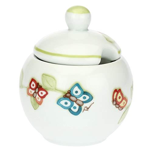 THUN - Zuccheriera con Coperchio, con Decorazione di Farfalle - Accessori Cucina - Linea Farfalle in Festa - Porcellana - con Coperchio 13 h cm