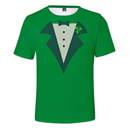 Cuteelf Herren St. Patrick\'s Day T Shirt Grün Männer Klee Hoher Hut Druck Lässige Oversize Kurzarm Hemd Mens übersteigt Sweatershirt Frauen Grün Druck Kurzarm O-Neck T-Shirt Tops