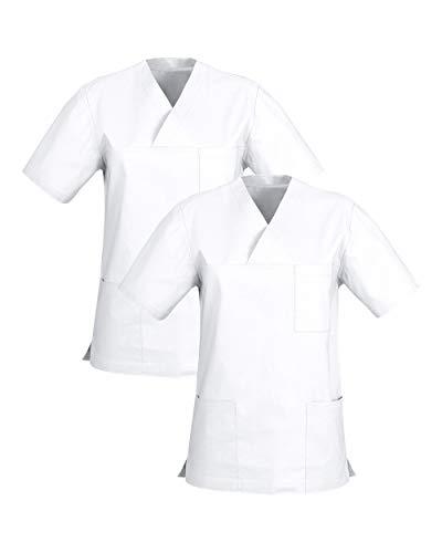 CLINIC DRESS Schlupfkasack Doppelpack Kasacks für Damen und Herren in 100% Baumwolle weiß M