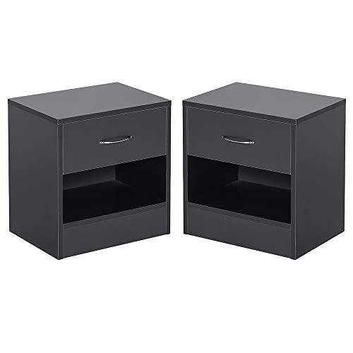 Flyelf Set di 2 Comodino Camera da Letto con Cassetto e Scompartimento,Tavolino (B_Nero)