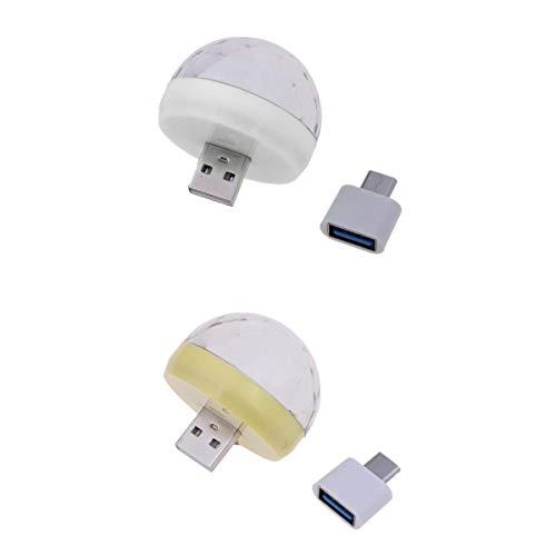 gazechimp 2 Peças USB Mini Bola de Luz de Discoteca Portátil LED Karaokê KTV Lâmpada de Decoração de Festa