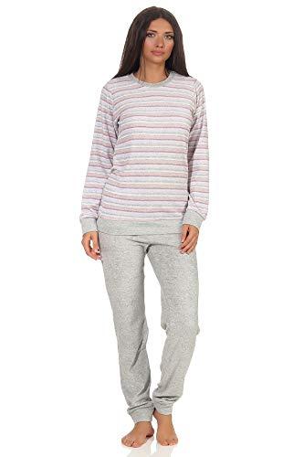 NORMANN-Wäschefabrik Damen Frottee Pyjama Langarm mit Bündchen – auch in Übergrössen bis 60/62 – 281 201 93 361, Farbe:grau, Größe2:44/46