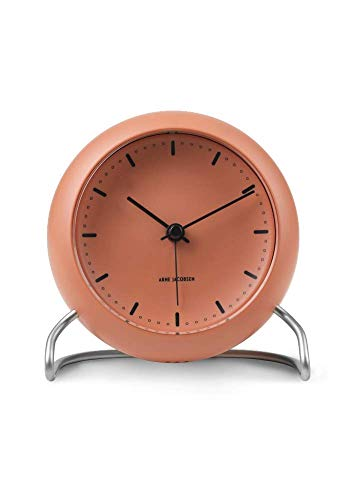 Arne Jacobsen Tischuhr, Kunststoff, Orange, 11 cm