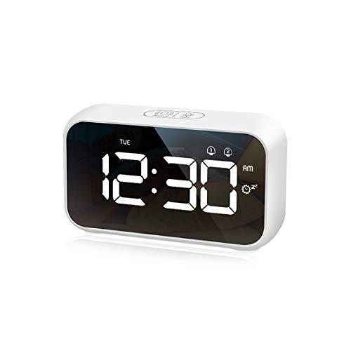 CHEREEKI Reloj Despertador Digital, Despertador con Temporizador de Siesta, Reloj Digital Sobremesa Dormitar con Dual Alarms, USB Rechargeable, 4 Brightness, 8 Volume Adjustable, 12/24H (Blanco)