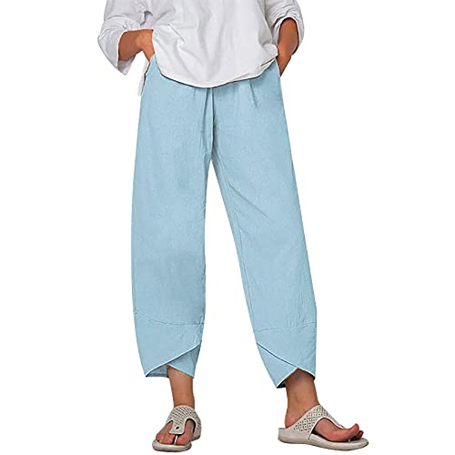 Plus Size Cotton Pants for Women Casual Elastic Waist Wide Leg Plained Pockets Cropped Pants Tapered Ankle Capris Trousers (Sky Blue,M)