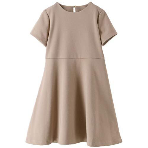 [キャサリンコテージ] シンプルワンピース 女の子 カジュアル フォーマル 子供服 CC0713 120cm ベージュ・半袖[BEG] TAK