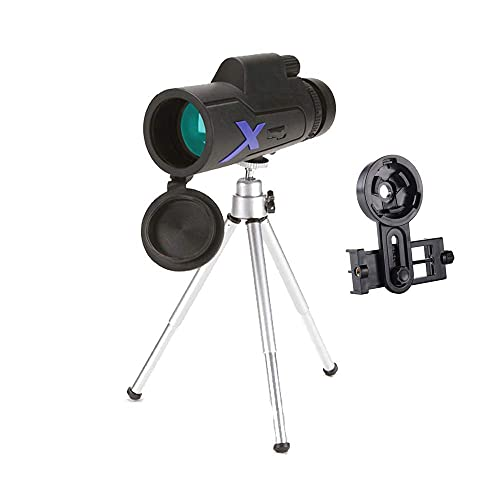 Telescopio monocular de 12 x 50, portátil compacto de alta potencia con lente BAK4 Prism FMC Monocular con adaptador para teléfono inteligente y trípode para adultos, niños, observación de aves, via