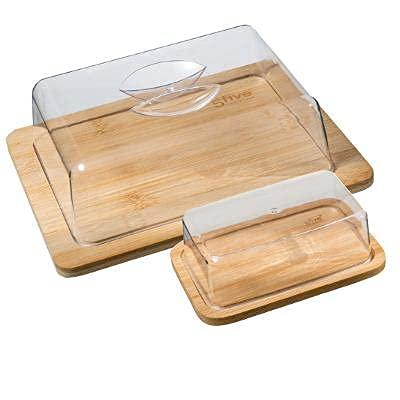 Premium Butter und Käsedosen auf Bambusplatte im Set 2 Stück, Butterdose mit Deckel Käseglocke Butterglocke transparent, modern, Butter Dish, klassische Butterschale mit Deckel, Butterbehälter
