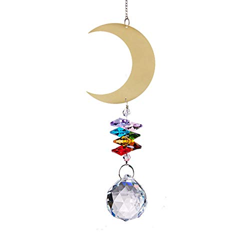 Dacitiery Crystal Hanging Sun Catcher with Prisms,Metal Elf Ornament and Colourful Chain,2 Pcs Rainbow Drops Pendant for Indoor Window Hanging and Garden Decor,8 Styles(36cm Moon Style)