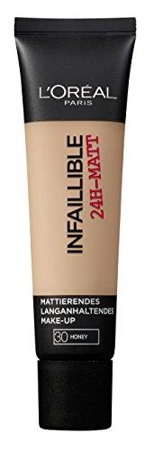 L'Oréal Paris Infaillible 24H-Matt in Nr. 30 Honey, langanhaltendes Flüssig-Make-up mit hoher Deckkraft, 35 ml