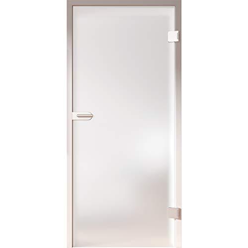 HORI® Glastür Komplettset inkl. Zarge und Türgriff I satinierte Milchglas Dreh-Tür aus 8 mm ESG Glas I DIN rechts I 1972 x 709 x 140 mm