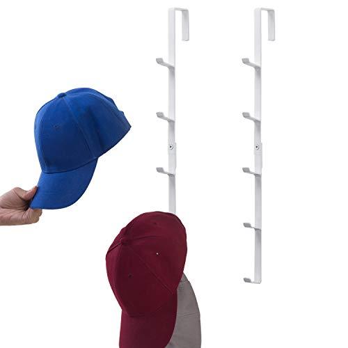 Modern White Metal Over-The-Door Hat Storage Rack/Display Hanger with 5 Hooks, Set of 2