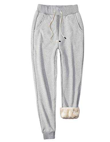 Gihuo Women's Winter Sweatpants Fleece Lined Harem Pants (Light Grey, Small)