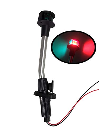 Pactrade Marine Navigation Red Green Angled Pole Bow Light and 2-Prong Pole Base