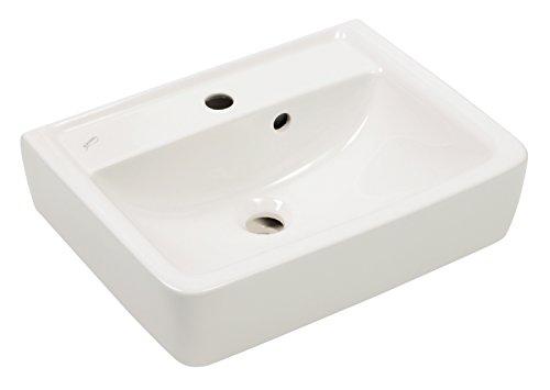 Keramag Handwaschbecken Renova Plan, 272150, Waschtisch, Waschbecken mit Überlauf, 50 x 38 cm, Keramik, Weiß, 03847 8