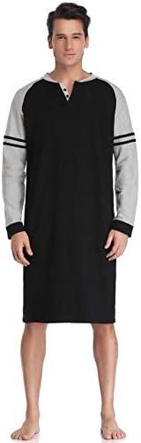 Aibrou Mens Nightshirt Cotton Nightwear Comfy Long Sleeve Henley Sleepwear Black product image
