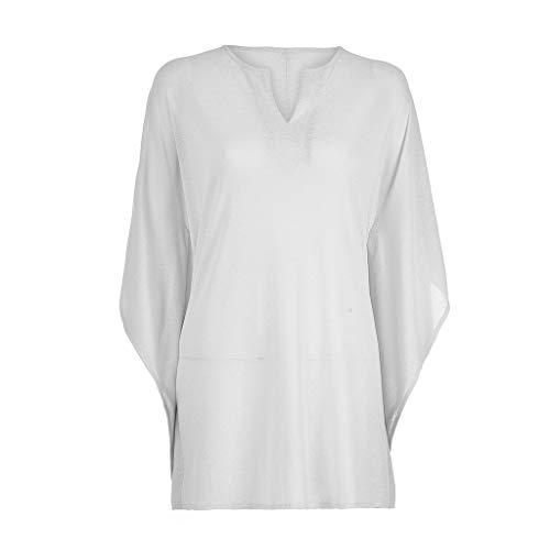 TOPKEAL Camiseta de Damas Atractivas Blusa Suelta de Manga Media de Color Sólida Camiseta con Cuello en V para Mujer