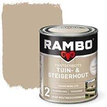 Rambo - Pantserbeits - Tuin & Steigerhout - Dekkend - Zijdeglans - Makkelijk Verwerkbaar - Waterproof - Poederbeige - 0.75...