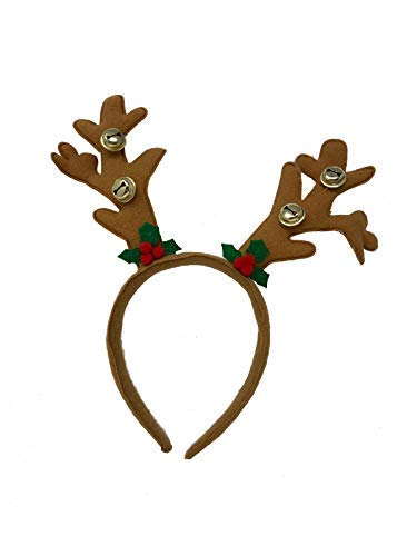 AEX Christmas Party Reindeer Antlers Holiday Plush Headband Bopper Costume Accessory (Brown)