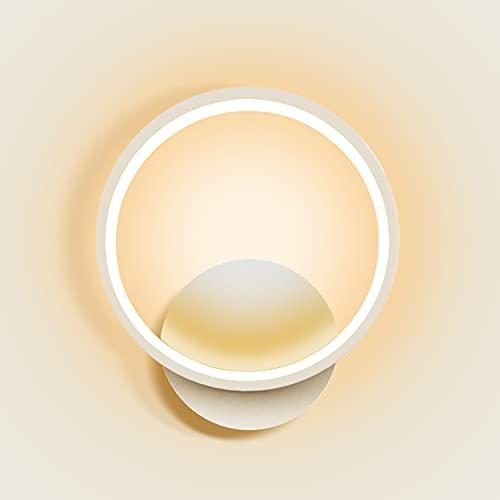Kimjo Applique da Parete Interno LED 12W, 3000K Bianco Caldo Lampada da Parete Moderno, Lampada da Muro Rotondo, Bianco Applique Camera da Letto per Soggiorno Corridoio Scale Ristoranti