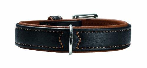 HUNTER CANADIAN Hundehalsband, Leder, hochwertig, weich, 65 (L), schwarz/cognac
