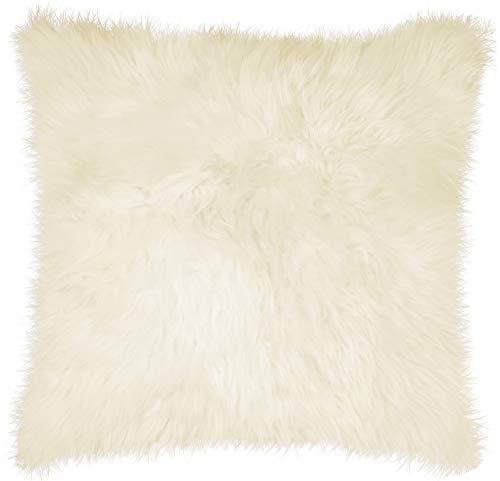Natural Lush & Thick Pile Polyfil Insert Zipper Closure Genuine New Zealand Sheepskin Wool Fur Pillow, Natural, 18 in x 18 in