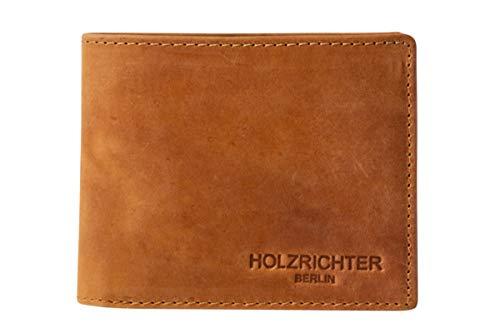HOLZRICHTER Berlin Premium Geldbörse aus Leder (M) - Handgefertigtes Portemonnaie für Herren Quer - Camel-braun