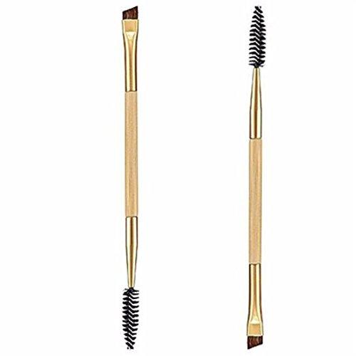 VWH Pinceau de Maquillage,1 pièce de maquillage en bambou double, pinceau à sourcils + un peigne à sourcils