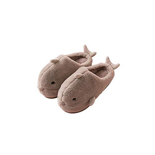 SFHK Chaussons Dauphin Dessin Animé Animal Femmes/Hommes des Couples Accueil Pantoufle pour Intérieur Maison Chambre Appartements Confortable Chaud Hiver Chaussures,Brown,40/41