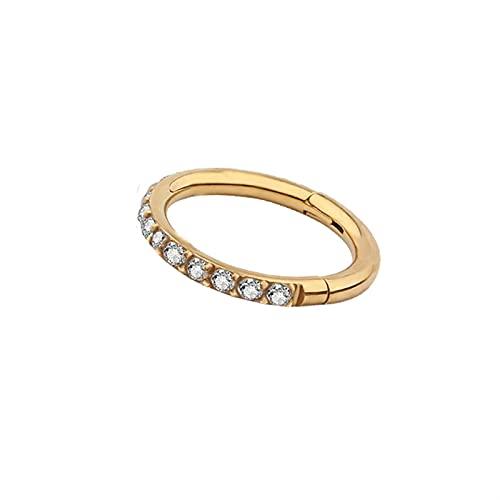 Clip en pendientes falsos aro de aro sin perforado Anillos de nariz de labios Joyería del cuerpo del clip de la oreja (Main Stone Color : 1.2x10mm, Metal color : Gold)