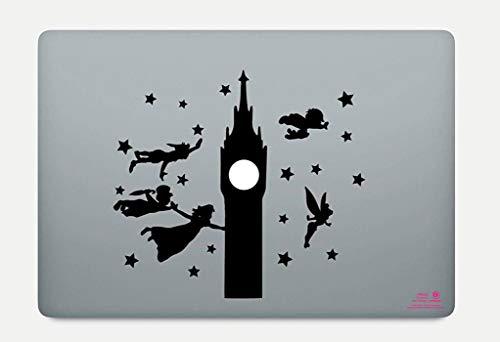 Artstickers. Pegatina para portatil de 15' y 17' Pulgadas. Diseño Peter Pan. Adhesivo para Apple MacBook Pro Air Mac Portátil. Color Negro. Regalo Spilart, Marca Registrada