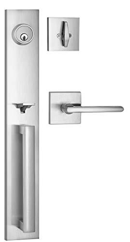 Berlin Modisch Full Escutcheon HandleSet Front Door Entry Handle and Deadbolt Lock Set Slim Square Single Cylinder Deadbolt and Lever Heavy Duty – Satin Nickel Finish