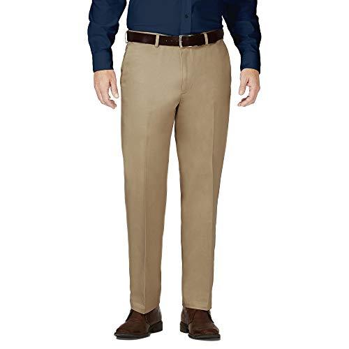 Pembrook Mens Dress Pants Expandable Waist - Dress Slacks for Men -Travel, Golf, Business Tan