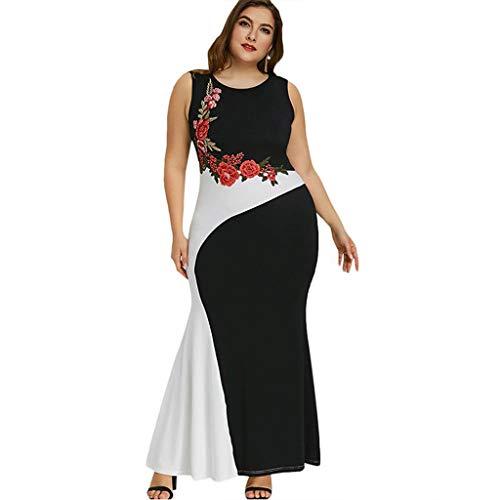 LOPILY Abendkleider Große Größen Eleganter Cocktail Rockabilly Kleid für Mollige Ärmellos Sommerkleid Elegantes Kleid für Hochzeit Gast Vokuhila Maxikleid Übergrößen (Schwarz, DE-48/CN-5XL)