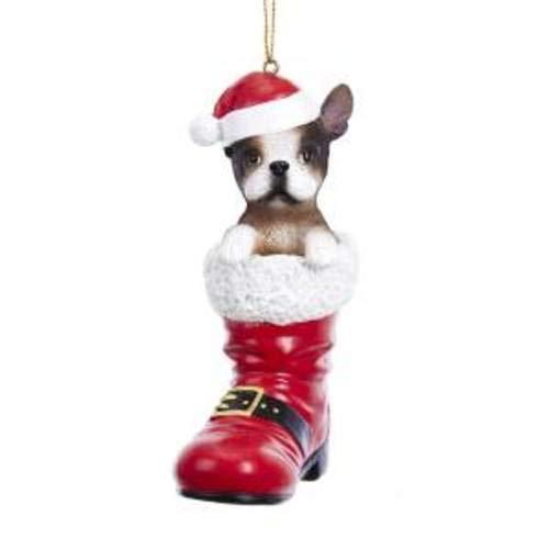 Kurt Adler D3449FB French Bulldog in Santa Boot Ornament, 4.25-inches Tall