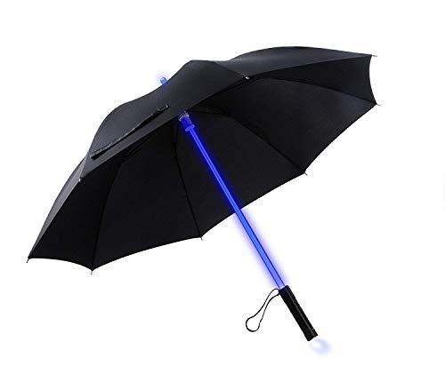 Lichtschwert LED Regenschirm mit Taschenlampe. Lichtschwert Leuchten schwarzer Regenschirm mit 7 Farben
