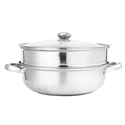 FEIYI Cookware 2 niveles 27,5 cm de acero inoxidable para cocinar a vapor de alimentos, olla para verduras y verduras con tapa de cristal