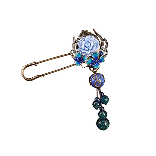 RKL Broches Y Alfileres con Colgante para Mujer, Estilo Étnico Vintage, Broche Azul, Joyería, para Madre Esposa Traje Chaqueta Suéter Accesorios (Color : Blue, tamaño : 8.2x4.2CM)