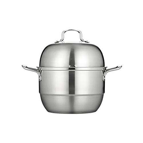 Utensilios de cocina al vapor 201 de acero inoxidable olla de sopa de 3 capas Hogar de vapor de 3 capas con vapor 28 cm espesado adecuado para cocina de inducción de estufas de gas Charola para hornea