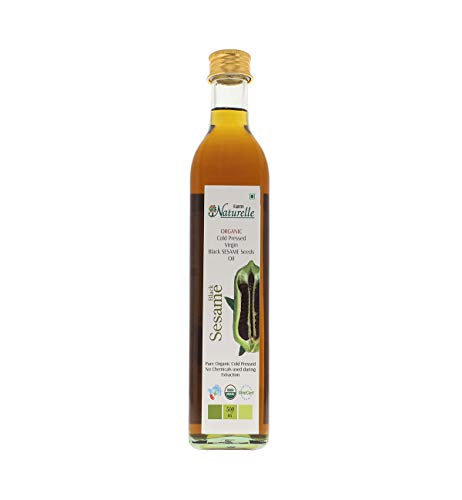 Farm Naturelle (Glass Bottles) Virgin Cold Pressed Black Sesame Seed Cooking Oil-(500ML)