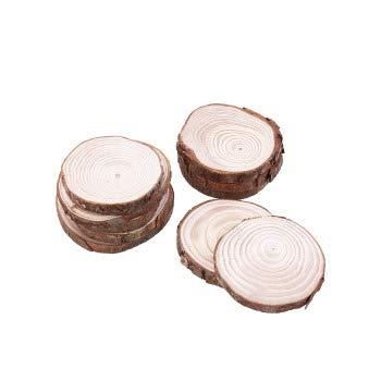 Pixnor Holzscheiben 8-9cm, Holzscheiben für Heimwerker und Bastler Hochzeit, 10 Stück