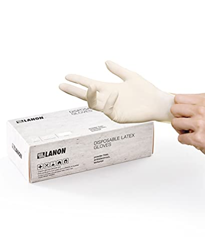 LANON 100 Count Disposable Latex Gloves, Food Contact Grade with Fully Textured, 5 mil, White, Medium