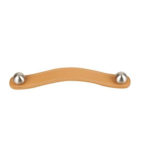 Schubladengriffe Edelstahl Orange Multi-Size-Ledergriff optional, Leder-Wandgriff aus Leder, Antikollisions-Kindertürgriff for den Kleiderschrank, Gewicht ca. 95 g Schubladengriff