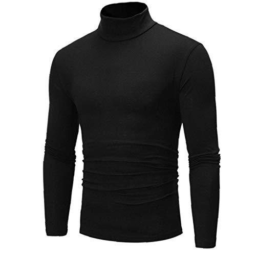 Mannen T-shirts Coltrui Lange Mouw Tops Effen Kleur Thermische Shirt Mannelijke Slim Fit Compressie Zwart (L)