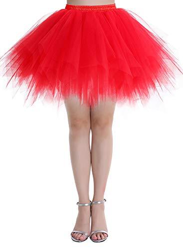 Dressystar DSP0005 Ballet TuTu/Jupon tulle pour soirée/bal couleurs variés, XL Rouge