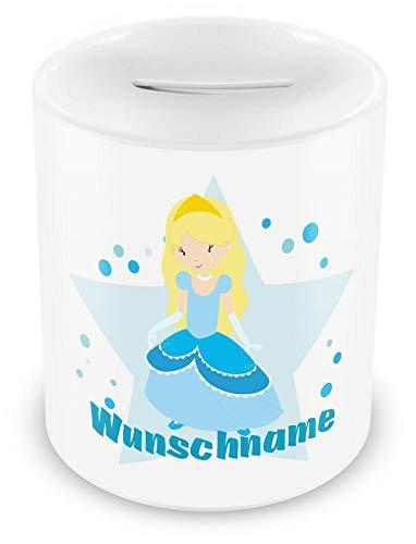 Samunshi® Kinder Spardose mit Namen und Winter Prinzessin als Motiv für Kinder - Jungen und Mädchen Sparschwein weiß
