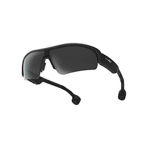 Aozu - Occhiali da sole Bluetooth a conduzione ossea con attacco alla testa, IP55, impermeabili e resistenti al sudore, con lenti sostituibili (nero)